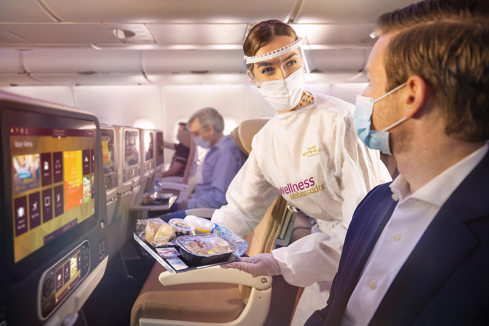 Etihad Airways Wellness Ambassador food service in Economy LR